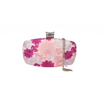 Front image of embroidered pink clutch bag with detachable chain strap