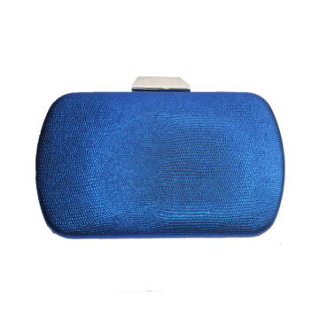 Front image of blue and silver clutch bag