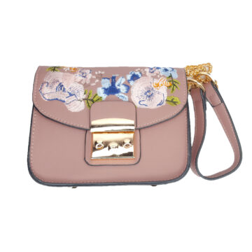 Front image of bag showing clasp opening, embroidery and strap