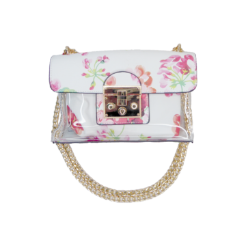 Front of white floral bag showing clasp opening, gold chain and clear front with inner purse