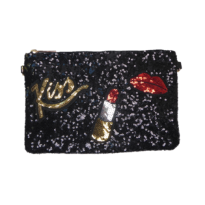Sequins Kiss wording lipstick and red lips
