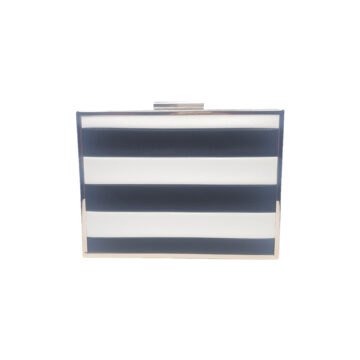 Front of black and white striped clutch bag with gold frame