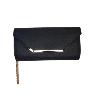Front view of the black clutch bag
