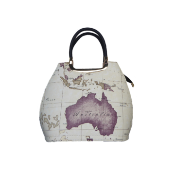 Front of handbag showing vintage map design