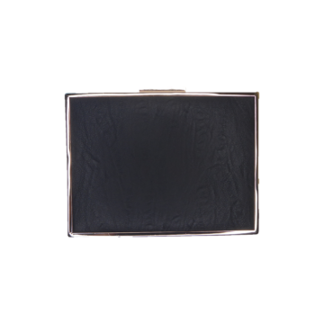 Front view of black box clutch bag with gold frame