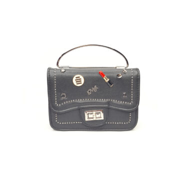 Front view of the charm studded handbag showing handle