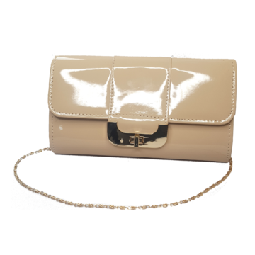 Front image of the nude bag showing detachable chain and clasp