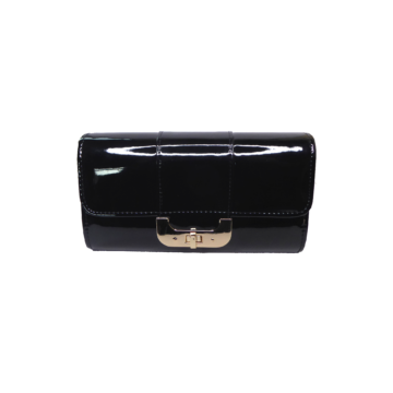Front view of black clutch bag showing clasp