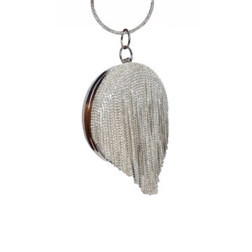 Silver diamante clutch bag hanging