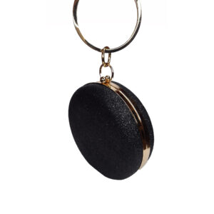 Image to show the Black circular bag with gold frame