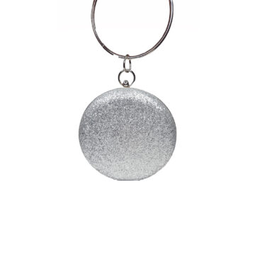 Glittery silver circular clutch bag with a diamante detailed bangle style handle