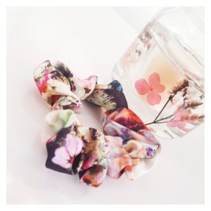 Floral scrunchie on display