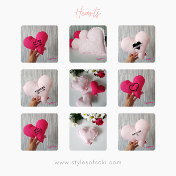 Handmade heart cushions with different sizes and designs
